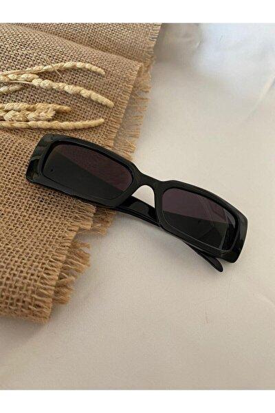 Vintage Model Baklava Desen Detaylı Siyah Unisex Güneş Gözlüğü