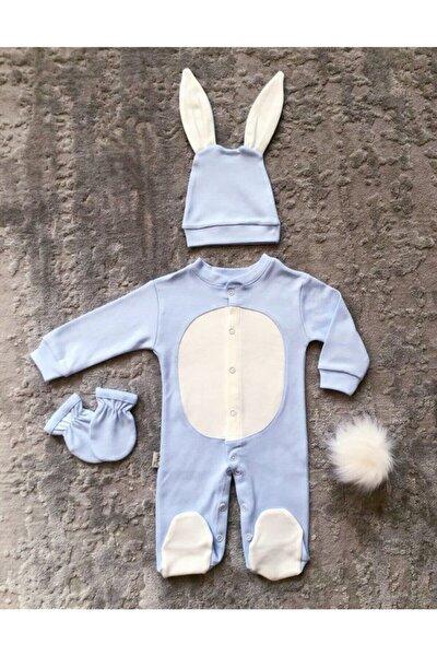 Yenidoğan Bebek Tavşanlı Tulum Seti Mavi