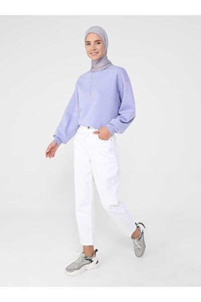 Kadın Beyaz Doğal Kumaşlı Kot Pantolon