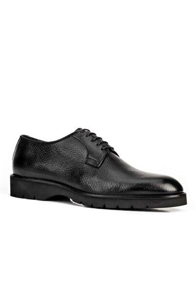 Özel Tasarım Yüksek Tabanlı Geyik Derisi Klasik Erkek Ayakkabı 7488 Siyah