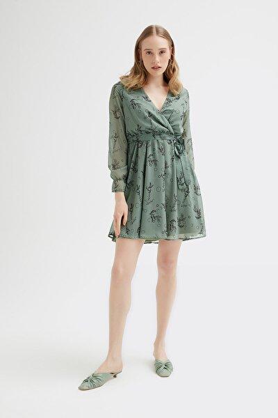 Kadın Çağla Yeşil Kruvaze Zeytin Dalı Şifon Elbise