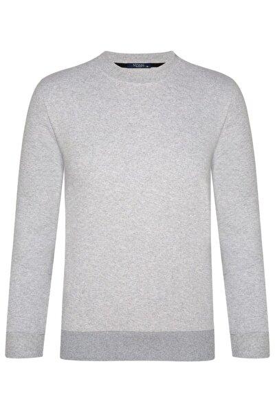O Yaka Iki Iplik Açık Gri Sweatshirt