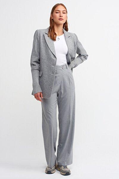 Kadın Gri Asimetrik Bol Pantolon-4778