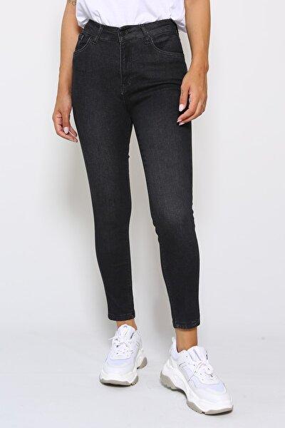 Likralı Yüksek Bel Jean
