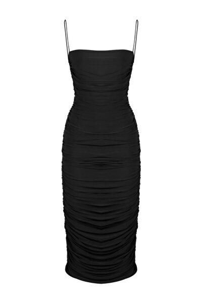 Siyah Ince Askılı Drapeli Midi Elbise