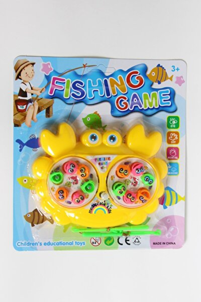 Mıknatıslı Kurmalı Balık Tutma Oyunu 2 Kişilik - Yengeç Sarı
