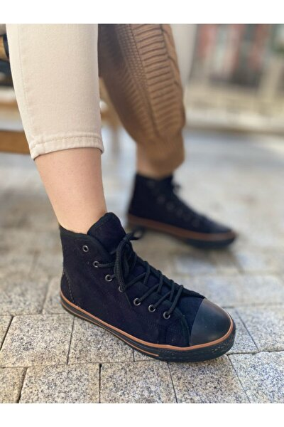 Unisex Siyah Tüylü Spor Sneaker Siyah