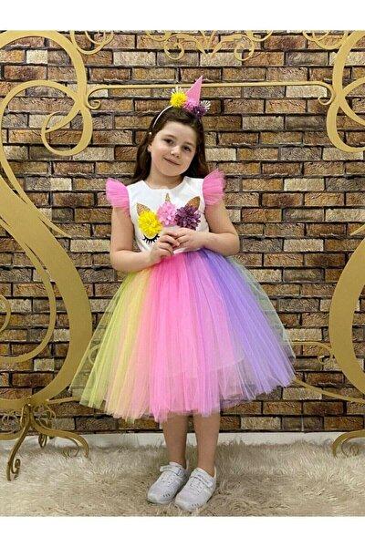 Kız Çocuk Unıcorn Simli Tütülü Rengarenk Parti-doğum Günü Prenses Elbisesi 1 Beden Büyüğünü Alınızz