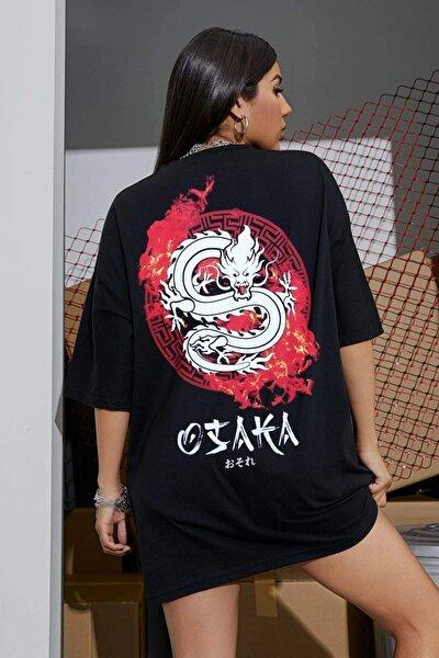 Siyah Osaka Dragon Japonca Baskılı Oversize Salaş Kadın T-shirt