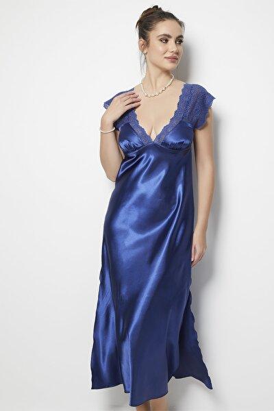 Kadın Mavi Fantezi Gecelik String Takım