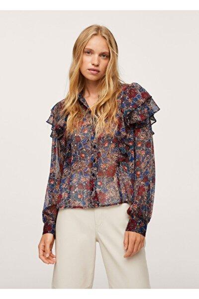 Desenli Ve Fırfırlı Bluz