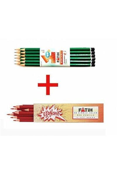 Kırmızı Kalem  Kurşun Kalem 12 Adet Set