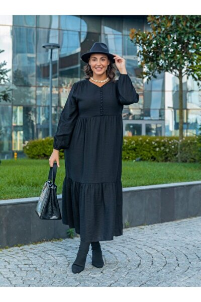 Büyük Beden Brit Düğme Detaylı Elbise - Siyah -