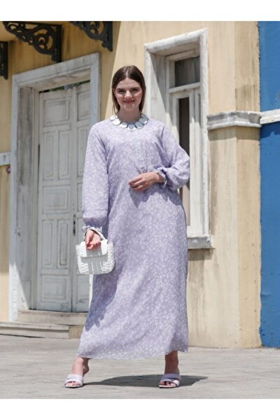 Desenli Şifon Elbise - Lila Beyaz -