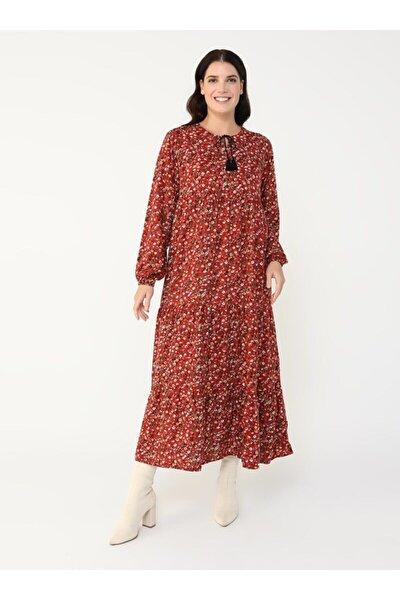 Büyük Beden Doğal Kumaşlı Çiçek Desenli Elbise - Kiremit -