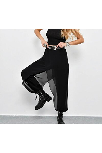 Tül Detaylı Şalvar Model Pantolon