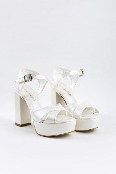12cm Sedef Deri, Kırık Beyaz, Gelin Ayakkabısı, Gelinlik Ayakkabısı, Çok Rahattır, Konfor Odaklıdır.