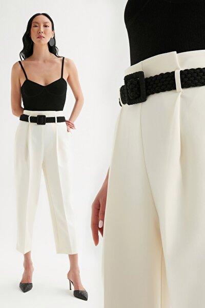 Kadın  Yüksek Bel Likralı Kemerli Pantolon