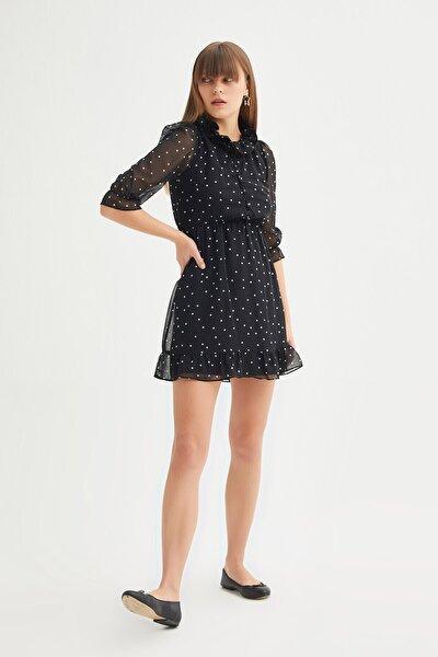 Kadın  Düğmeli Fırfır Detaylı Şifon Elbise