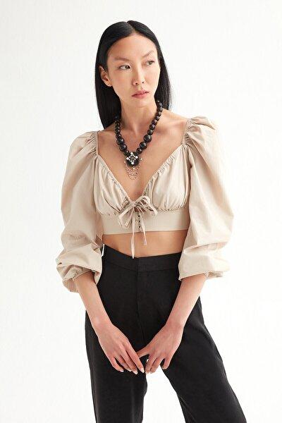 Kadın Bej Terikoton Önü Bağlamalı Bluz