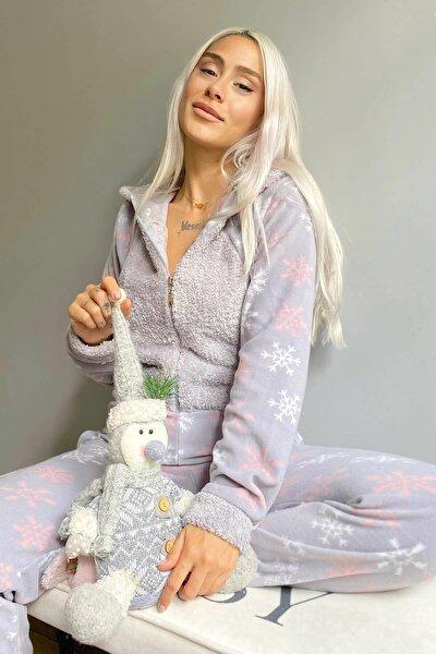 Gri Kartanesi Desenli Kadın Polar Peluş Tulum Pijama
