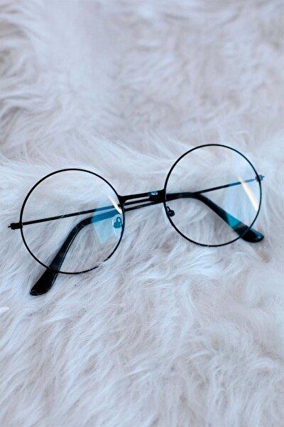 Unisex Siyah Yuvarlak Şeffaf Gözlük