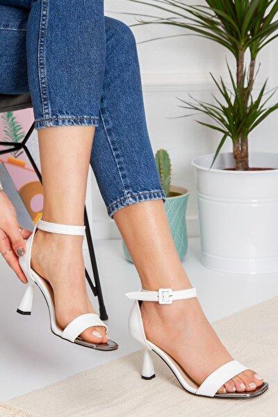 Kadın Topuklu Ayakkabı-beyaz-byc1701