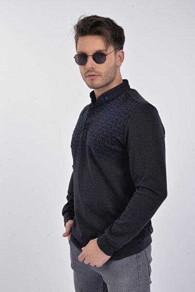Erkek Regular Fit Antrasit-mavi Desenli Polo Yaka Sweatshirt T-19-14