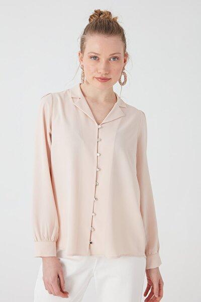 Kadın Pembe Önü Brit Düğmeli Gömlek