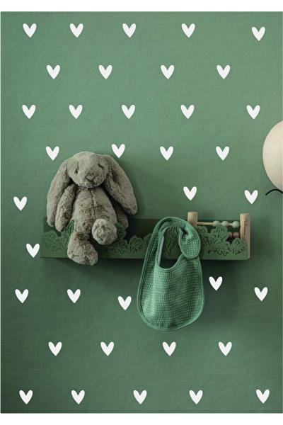 Beyaz Şirin Kalp Çocuk Odası Sticker 100 Adet