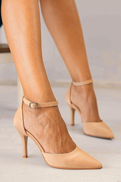 Limar Nude Cilt Stiletto Sivri Burun Kadın Topuklu Ayakkabı
