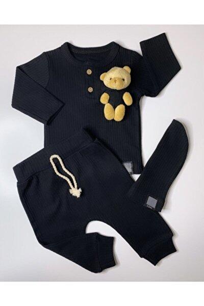 Fitilli Önden Patlı Şapkalı Ayıcıklı Siyah Bebek İkili Takım