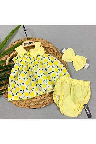 Kız bebek Sarı Mandalina Baskılı Takım