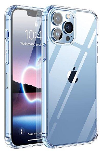 Iphone 13 Pro Max Kılıf (6.7 Inch) Şeffaf Yumuşak Silikon Kamera Korumalı Şarj Girişi Tıpalı