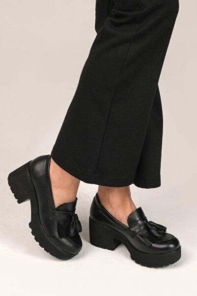 Siyah Cilt Kadın Loafer Ayakkabı