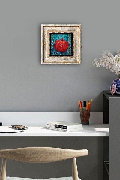 Doğal Taş Tablo Çerçeveli Duvar Dekoru Nar Temalı Özel Baskılı Pano 20 X 20 cm Framed Wall Decor