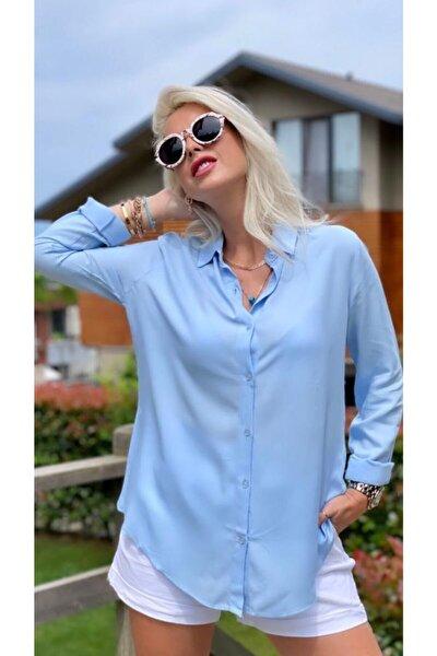 Kadın Basic Dokuma Viskon Kumaş Gömlek