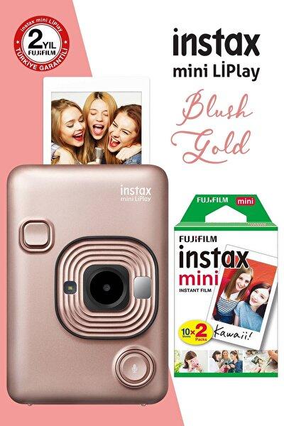 instax mini LiPlay Hybrid Blush Gold Fotoğraf Makinesi 20li mini Film