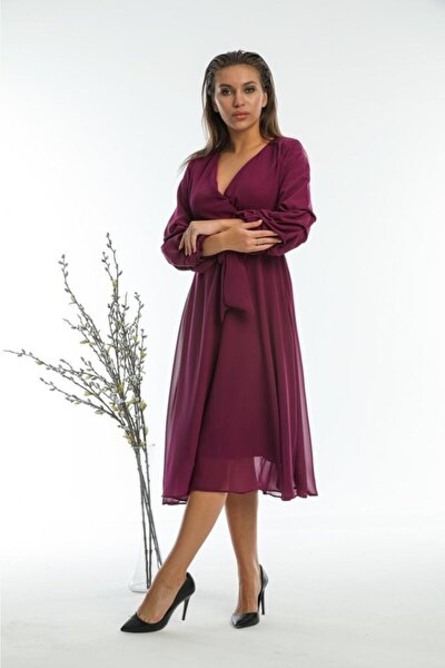 Şifon Kumaş Astarlı Elbise
