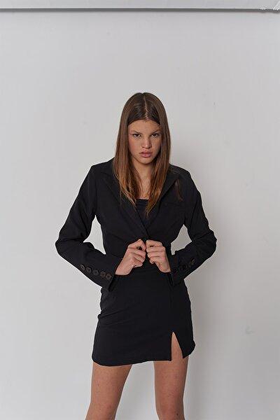 Kadın Siyah Crop Kol Düğme Detaylı Panky Ceket