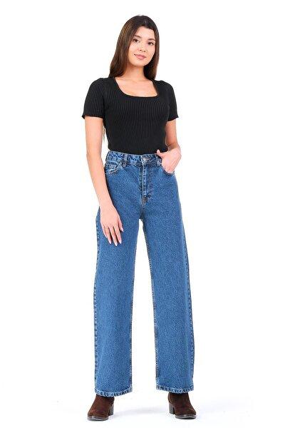 Yüksek Bel Bol Paça Kot Rengi Kadın Jean