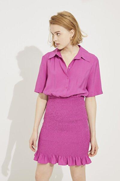 Kadın Fusya Eteği Gipeli Gömlek Elbise