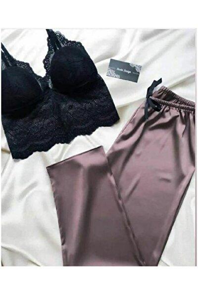 Relax Mürdüm Büstiyerli Saten Pijama Takımı 5219 S