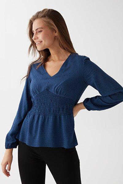 Kadın Lacivert Beli Lastikli Bluz K21BL034