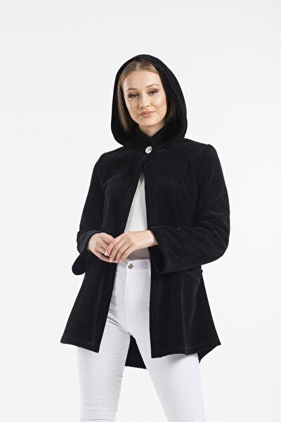 Kadın Siyah Kapüşonlu Softshell Panço