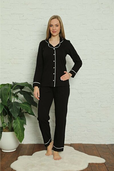 Kadın Siyah - Pembe Pamuklu Likralı Biyeli Pijama Takımı