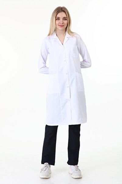 Tesettür Uzun Boy Gömlek Yaka Doktor Öğretmen Laborant Önlüğü