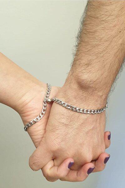 Unisex Beyaz Çelik Mıknatıslı Çift Sevgili Bilekliği