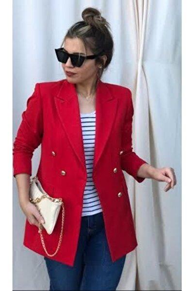 Büyük Beden Uzun Gold Düğmeli Kırmızı Blazer Ceket