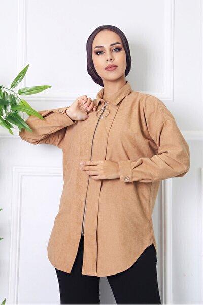 Kadın Bej Owersize Süet Fermuarlı Gömlek